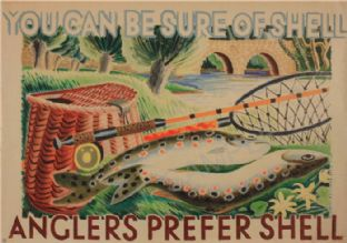 You Can Be Sure Of Shell - Retro Petrol Advert for Anglers